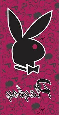 NEW Official Playboy Rabbit Head Black and Fuchsia Beach Tow