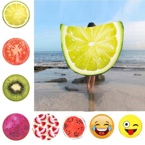 round fruit printed beach towel yoga mat