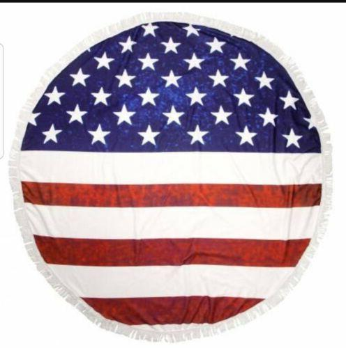Round Us Flag beach towel with fringe