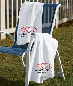 Set of Marriage Embroidered Beach Towels Wedding Bridal Gift