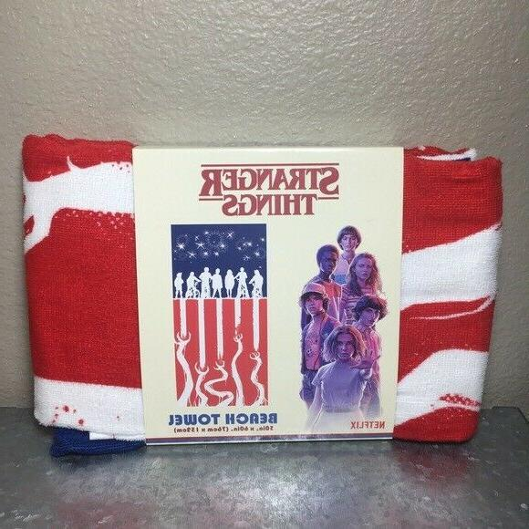 stranger things 3 beach towel stars stripes
