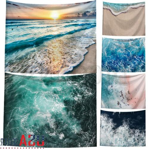us tapestry beach towel sea waves round