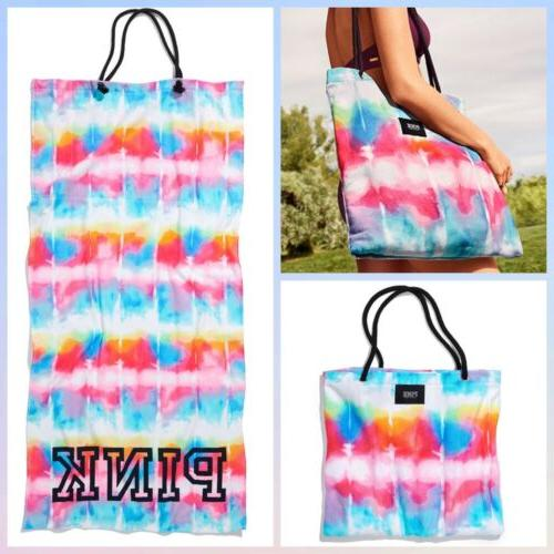 Victoria's Secret PINK Packable Towel Tote Beach Bag Blue Ti