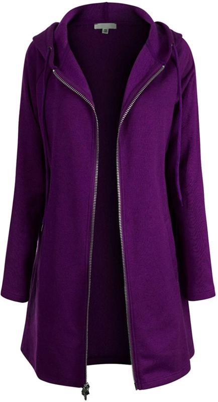 Design By Olivia Women'S Casual Oversized Fit Long Zip Up Pu