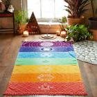 Yoga Mat Tapestry Rainbow 7 Chakra Stripes Beach Towel Summe
