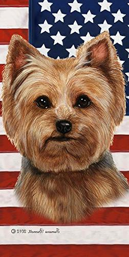 "Yorkie Puppy Cut - Best of Breed Patriotic II 60"" x 30"" Micr"