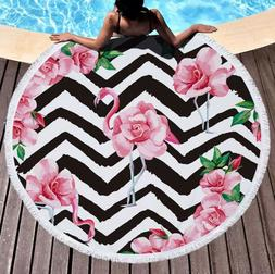 Large Round Floral Flamingo Beach Towel w/Tassels