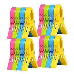 ilyever 16 Pack Colorful Beach Towel Clips for Beach Chair o