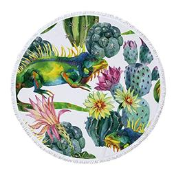 SOFTBATFY Lizard with Cactus Thick Terry Round Beach Towel/R