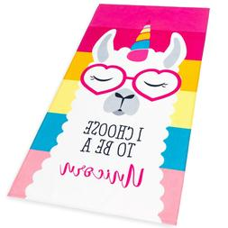 Llama Unicorn Beach Towel Pink Rainbow 28 x 51 inches  100%