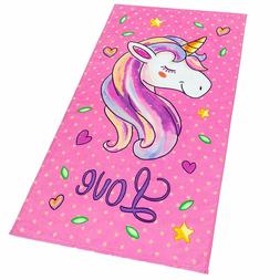 Love Unicorn and Stars Velour Beach Towel for Kids 28in x 55