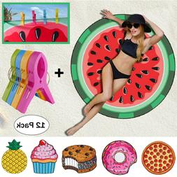 Lovely Round Summer Beach Towel Print Blanket Shawl Picnic Y