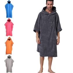 Men's Adult Changing Robe Towel Bath Hooded Beach Towel Ponc