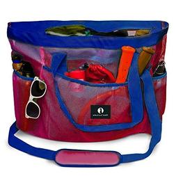 Red Suricata Large Mesh Beach Bag - Tote with Zippered Top -