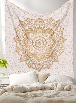 Tapestry Gold Mandala Metallic Queen Indian Cotton Wall Hang