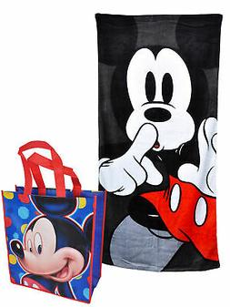 Mickey Mouse Beach Towel 58x28 Black & Large Mickey Tote Bag
