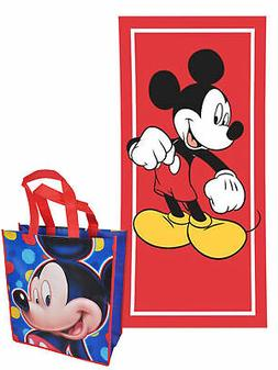 Mickey Mouse Beach Towel Red 58x28 & Large Mickey Tote Bag 2