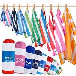 BOGI Microfiber Beach Towel with FREE Hand Towel--Quick Dry