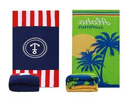 Microfiber Beach Towel Blanket Mat - 2 Packs Hawaii Tropical