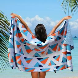 Microfiber Beach Towel Oversized - XL 78 x 35 - GEO BLUE