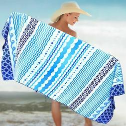 Microfiber Beach Towel Oversized - XL 78 x 35 - WAVES