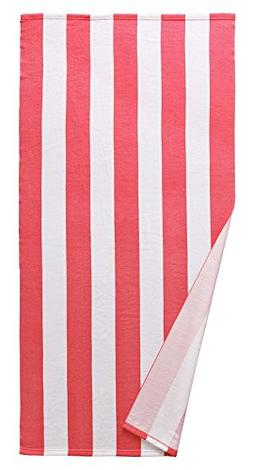 Exclusivo Mezcla Microfiber Cabana Striped Beach Towel Pink
