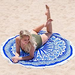 BuirStory Colore Microfiber Round Beach Towel for Swimming,