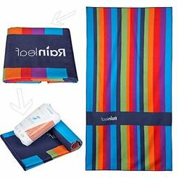 RainLeaf Microfiber Towel by, Stripe Beach |Rainbow)