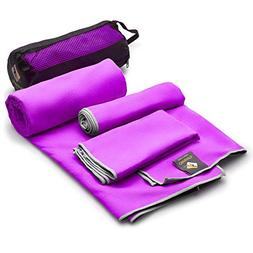 Set of 3 Microfiber Towels - Best For Gym Travel Camp Beach