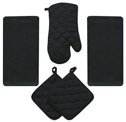 JJ Linens 5 Piece Midnight Black Kitchen Linen Towel Set Sol