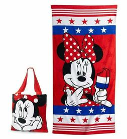 Disney Minnie Mouse Beach Towel & Tote Bag Set Red White & B