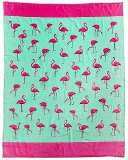 Multi Flamingos Brazilian Velour Beach Towel 58x74 Inches