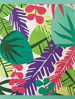 Multi Leaves Brazilian Velour Beach Towel 58x74 Inches