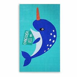 Narwhal Beach Towel Crystalized Green - Personalized - Over
