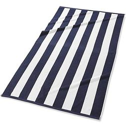 3 Pack Navy Blue Cabana Stripe Large Bath Towels Set – 100
