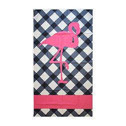 navy blue pink flamingo microfiber