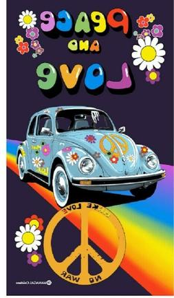 New Peace and Love Bug Beach Bath Pool Towel Hippie Gift Rai