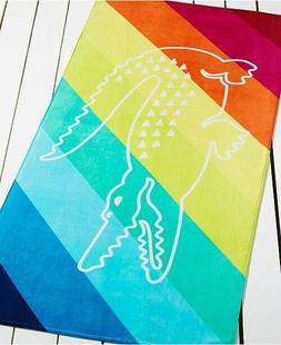 NWT Lacoste Crocostripe X-Large 36x72 Beach Towel Pink Blue