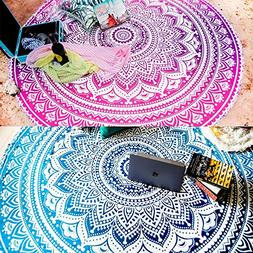 Folkulture Set of 2 Round Beach Towels or Boho Mandala Tapes