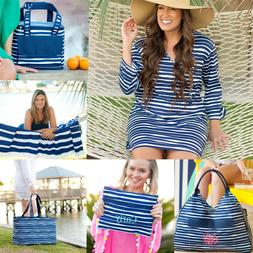 PERSONALIZED BLUE STRIPE TIDELINES BEACH BAG TOWEL INSULATED