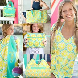 PERSONALIZED MONOGRAMMED LEMONS BEACH BAG TOWEL INSULATED CO