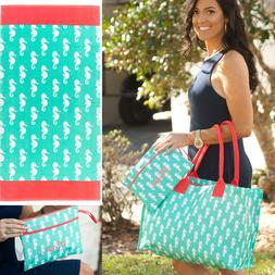 PERSONALIZED SEAHORSE BEACH TRAVEL TOTE BAG, TOWEL or WATER