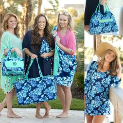 PERSONALIZED TROPICAL BLUE FLOWERS BEACH BAG TOWEL INSULATED
