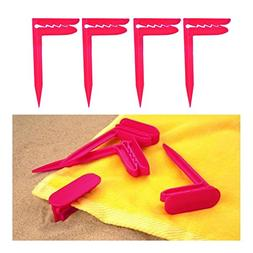 Picnic Blanket and Towel Clamp Stakes - Set of Four- Assorte