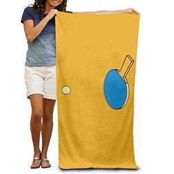 Ping Pong Paddle Hitting Beach Towels Luxurious 100% Polyest