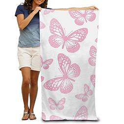Pink Butterflies Pattern Beach Towels Luxurious 100% Polyest