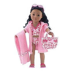 18 Inch Doll Clothes   6-Piece Pink Leopard Print Tankini Sw