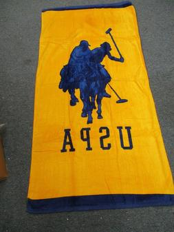 "POLO  Beach Towel,100% Cotton, 30""x 60"" NAVY BLUE -YELLOW BR"