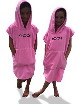 COR Childrens Unisex Poncho Towel Robe Light and Dark Blue,