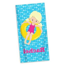 Pool Beach Towel - Blue Dots Girl Swimmer Pool Personalized